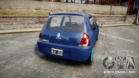 Renault Clio Mio 2014 para GTA 4 Vista posterior izquierda