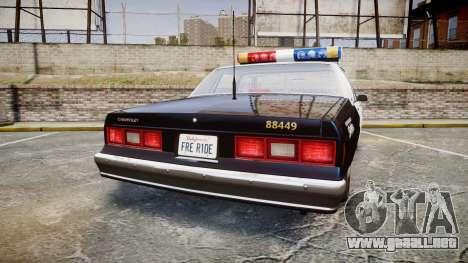 Chevrolet Impala 1985 LAPD [ELS] para GTA 4 Vista posterior izquierda