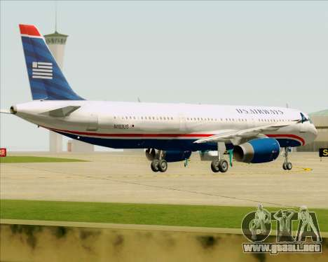 Airbus A321-200 US Airways para vista inferior GTA San Andreas