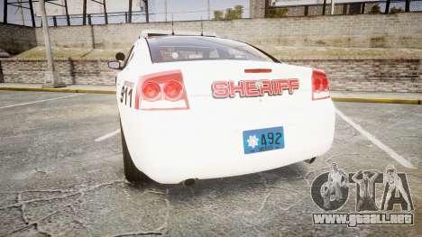 Dodge Charger 2010 LC Sheriff [ELS] para GTA 4 Vista posterior izquierda