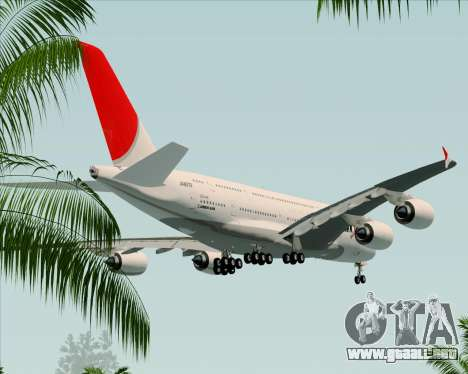 Airbus A380-800 Japan Airlines (JAL) para la vista superior GTA San Andreas