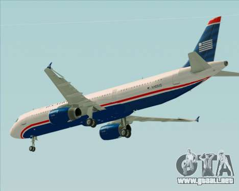 Airbus A321-200 US Airways para la vista superior GTA San Andreas