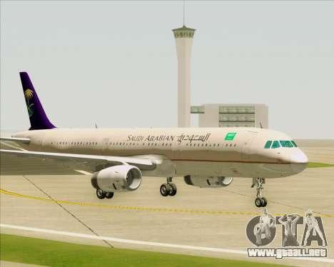 Airbus A321-200 Saudi Arabian Airlines para vista inferior GTA San Andreas