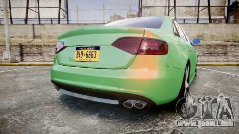 Audi S4 2010 FF Edition para GTA 4 Vista posterior izquierda