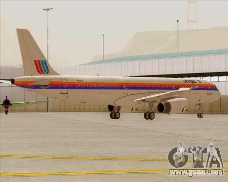 Airbus A321-200 United Airlines para las ruedas de GTA San Andreas