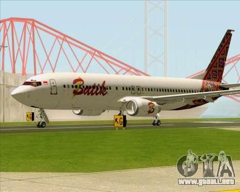 Boeing 737-800 Batik Air para GTA San Andreas vista posterior izquierda