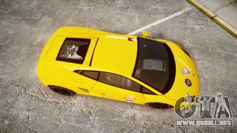 Lamborghini Gallardo 2013 Honoka Kousaka para GTA 4 visión correcta