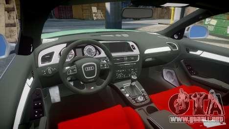 Audi S4 2010 FF Edition para GTA 4 vista hacia atrás