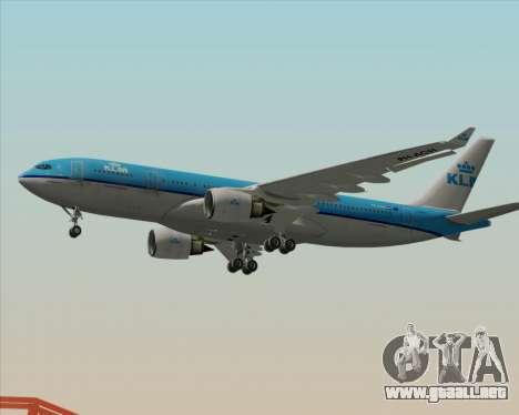 Airbus A330-200 KLM - Royal Dutch Airlines para GTA San Andreas vista posterior izquierda