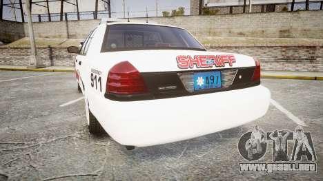 Ford Crown Victoria LC Sheriff [ELS] para GTA 4 Vista posterior izquierda