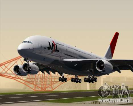 Airbus A380-800 Japan Airlines (JAL) para GTA San Andreas left