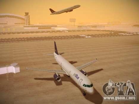 Airbus A321-232 jetBlue Batty Blue para GTA San Andreas vista hacia atrás