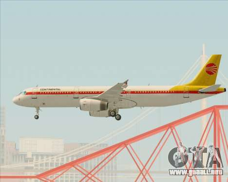Airbus A321-200 Continental Airlines para vista inferior GTA San Andreas