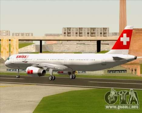 Airbus A321-200 Swiss International Air Lines para GTA San Andreas vista hacia atrás