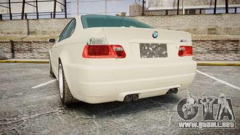 BMW M3 E46 2001 Tuned Wheel White para GTA 4 Vista posterior izquierda