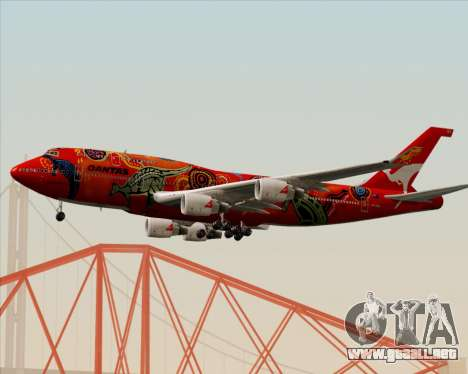 Boeing 747-400ER Qantas (Wunala Dreaming) para GTA San Andreas vista posterior izquierda