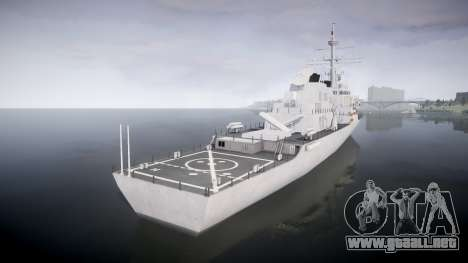 US Navy Destroyer Arleigh Burke para GTA 4 Vista posterior izquierda
