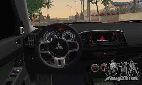 Mitsubishi Lancer Evo X para GTA San Andreas vista posterior izquierda