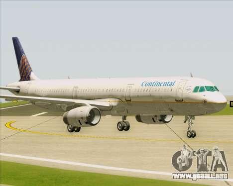 Airbus A321-200 Continental Airlines para visión interna GTA San Andreas