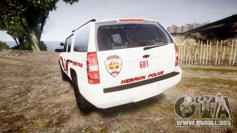 Chevrolet Suburban 2008 Hebron Police [ELS] Blue para GTA 4 Vista posterior izquierda
