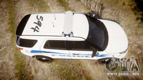 Ford Explorer 2013 PS Police [ELS] para GTA 4 visión correcta