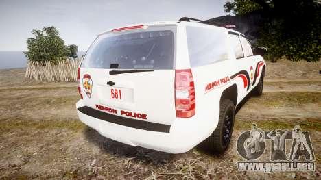 Chevrolet Suburban 2008 Hebron Police [ELS] Red para GTA 4 Vista posterior izquierda