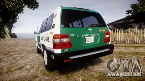 Toyota Land Cruiser Guardia Civil Cops [ELS] para GTA 4 Vista posterior izquierda