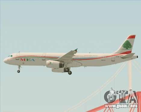 Airbus A321-200 Middle East Airlines (MEA) para las ruedas de GTA San Andreas