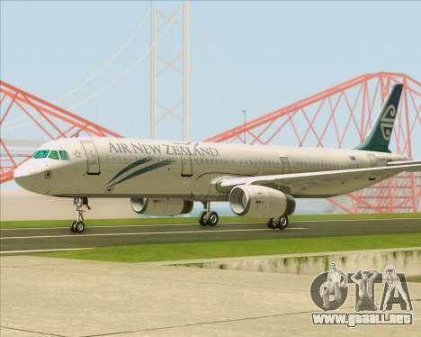 Airbus A321-200 Air New Zealand para GTA San Andreas vista hacia atrás