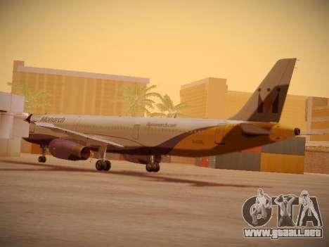 Airbus A321-232 Monarch Airlines para GTA San Andreas vista posterior izquierda