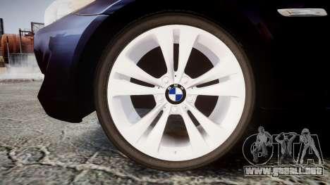 BMW 530d F11 Unmarked Police [ELS] para GTA 4 vista hacia atrás