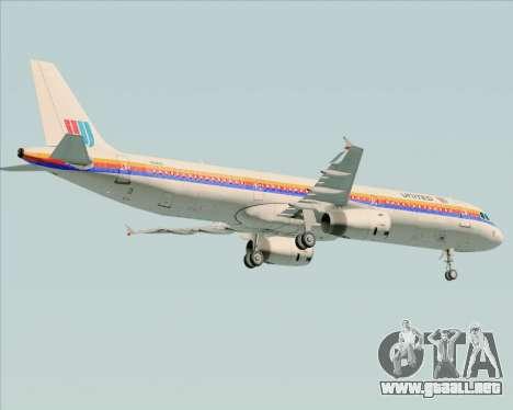 Airbus A321-200 United Airlines para vista inferior GTA San Andreas