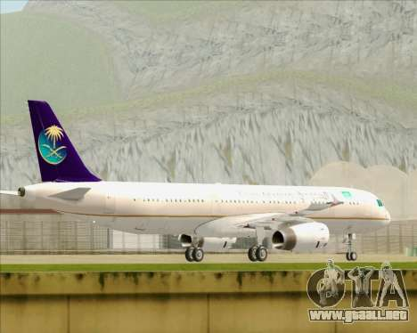 Airbus A321-200 Saudi Arabian Airlines para GTA San Andreas vista posterior izquierda
