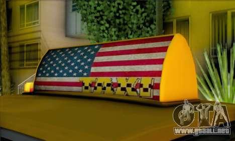 Willard Marbelle Taxi Saints Row Style para GTA San Andreas vista posterior izquierda