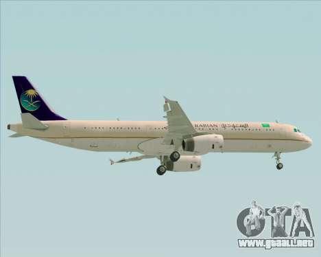 Airbus A321-200 Saudi Arabian Airlines para la vista superior GTA San Andreas