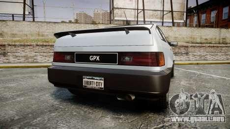 Dinka Blista Compact GPX para GTA 4 Vista posterior izquierda