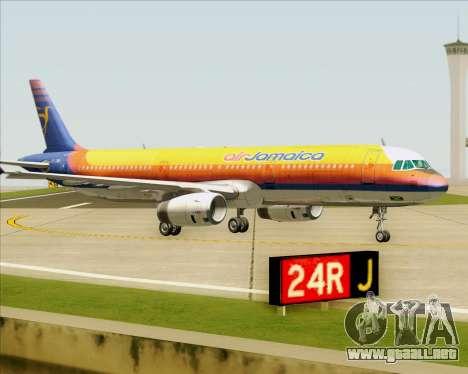 Airbus A321-200 Air Jamaica para la vista superior GTA San Andreas