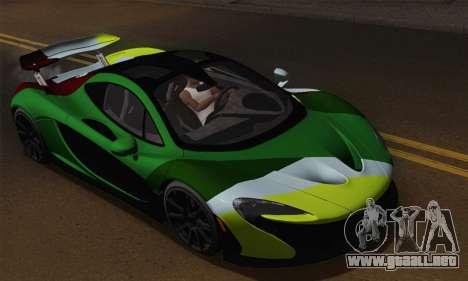 McLaren P1 Black Revel para vista lateral GTA San Andreas