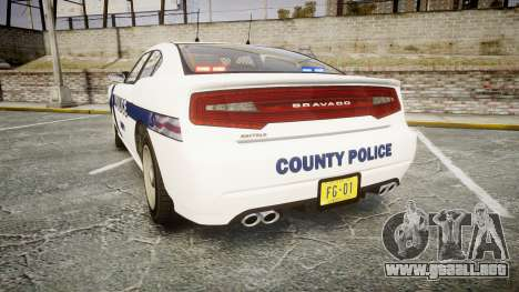 GTA V Bravado Buffalo Liberty Police [ELS] Slick para GTA 4 Vista posterior izquierda