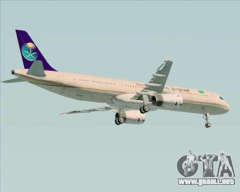 Airbus A321-200 Saudi Arabian Airlines para vista lateral GTA San Andreas