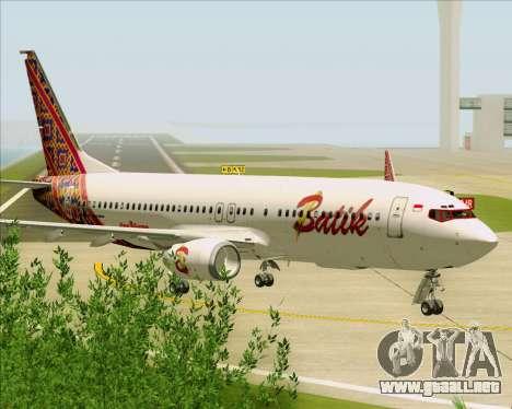 Boeing 737-800 Batik Air para GTA San Andreas vista hacia atrás