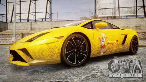 Lamborghini Gallardo 2013 HDD Honoka Kousaka para GTA 4 vista hacia atrás