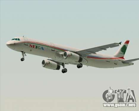 Airbus A321-200 Middle East Airlines (MEA) para GTA San Andreas left