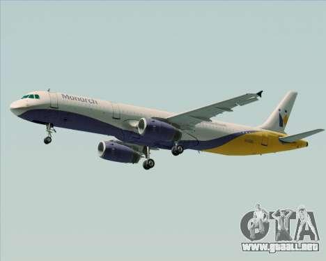 Airbus A321-200 Monarch Airlines para visión interna GTA San Andreas