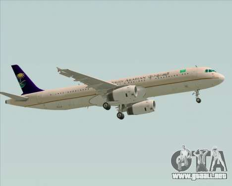 Airbus A321-200 Saudi Arabian Airlines para GTA San Andreas vista hacia atrás