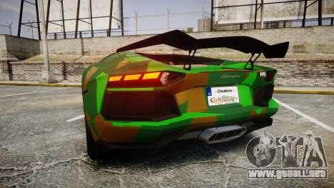 Lamborghini Aventador LP760-4 Camo Edition para GTA 4 Vista posterior izquierda