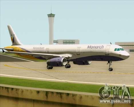 Airbus A321-200 Monarch Airlines para GTA San Andreas vista hacia atrás