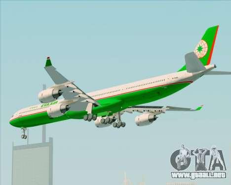 Airbus A340-600 EVA Air para GTA San Andreas vista hacia atrás