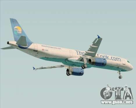 Airbus A321-200 Thomas Cook Airlines para GTA San Andreas vista hacia atrás