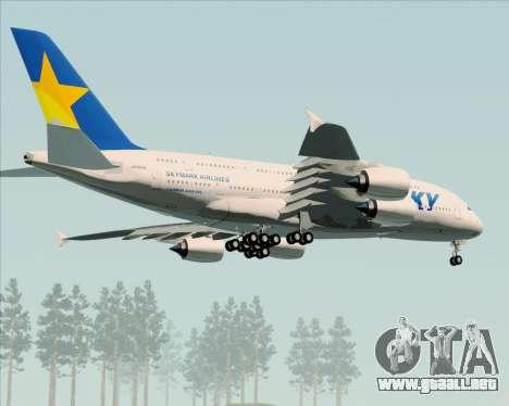 Airbus A380-800 Skymark Airlines para visión interna GTA San Andreas